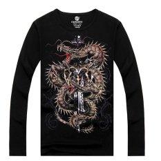 Queen Men's Fashion 3D Printed Long-sleeved Cotton T-shirt, Metal Rock Punk (LC Xin Long Jian)