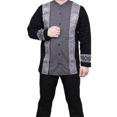 QuincyLabel Baju Koko Batik Lengan Panjang 50 XL - Black