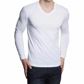QuincyLabel Grosir Kaos Panjang V-Neck - 3pcs - White