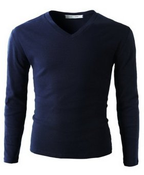 QuincyLabel Long Slevee V Neck - Navy