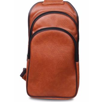 QuincyLabel Sling Bag Tas Pria Pu Leather -Brown