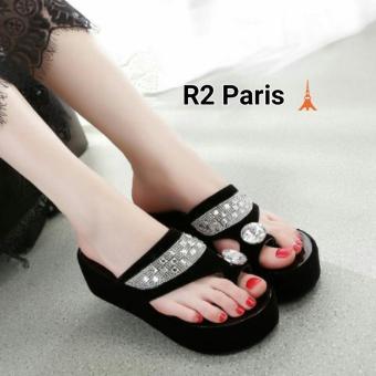 R2 Paris Wedges Sandal Marbel Permata - Hitam