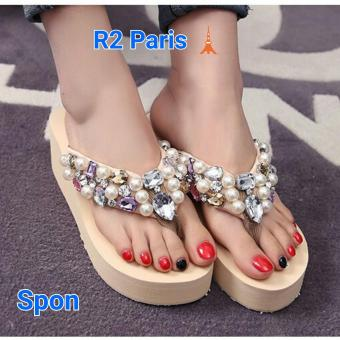 R2Paris Wedges Sandal Mogetan - Peach