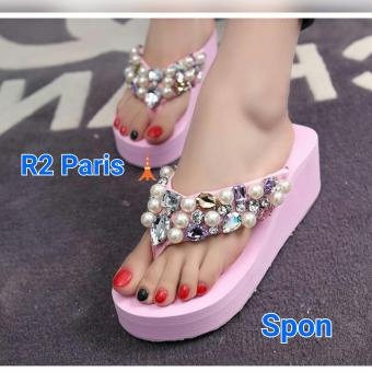R2Paris Wedges Sandal Mogetan - Pink