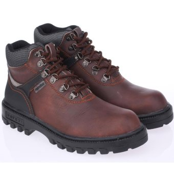 Raindoz Sepatu Safety Boots Kulit Proyek Industry Bengkel PabrikLapangan Kontraktor - Safety Boots Best Seller - Brown