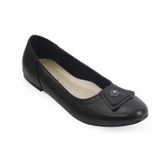 Raindoz Women Flats Leather Black - Hitam