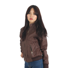 Raindoz Women Leather Jacket Dark - Cokelat