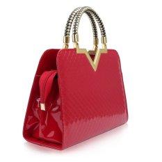 Red Designer Fashion Womens Leather Style Tote Handbag (Intl)