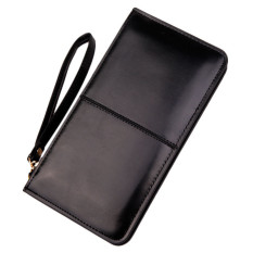 Retro Long Card Holder Purse Leather Stitching Lady Women Wallet Black