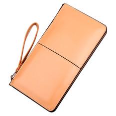 Retro Long Card Holder Purse Leather Stitching Lady Women Wallet Khaki