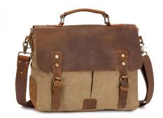 Retro Men Canvas Bag Crazy Horse Leather Retro Messenger Bag (Khaki)