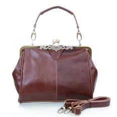 Retro Vintage Lady Women PU Leather Shoulder Purse Handbag Totes Bag Satchel (Dark Brown)