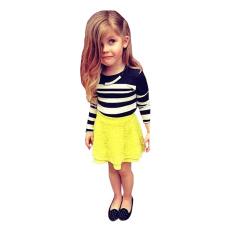 Rorychen gadis manis 2 buah baju: Kaos garis-garis + rok renda lapis