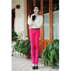 Rose Red 2016 High Waist Jeans Women Summer Style Casual Candy Color Plus Size Pencil Legging Skinny Pants Trousers Jeans For Women - Intl