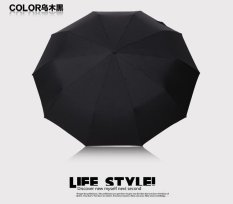 Roselife Business Men Automatic Umbrellas 10 Rib Strong Windproof Large Folding UV Protection Travel Umbrella Rain