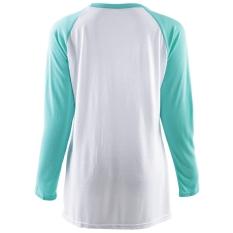 Round Collar Long Sleeve Printing Spliced Women's T-Shirt S (Intl)