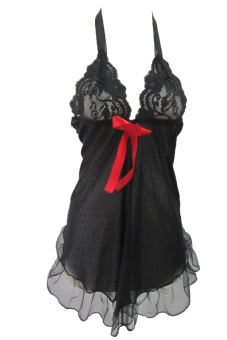Ruby LXL-834 Sexy Hot Backless Apron Lingerie Dress - Hitam