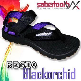 Sabertooth Sandal Gunung / Traventure Regio Blackorchid VX - Hitam
