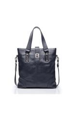 SAMMONS Men Real Cow Genuine Leather Purse Shoulder Bag Handbag Briefcase Messenger Tote (Blue)