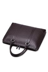 SAMMONS Men Real Genuine Cow Leather Purse Shoulder Bag Tote Business Handbag Grid Plaid (Brown)