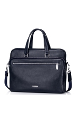 SAMMONS Men's Real Genuine Leather Purse Briefcase Portfolio Business Hand Bag Tote Laptop (Navy Blue)