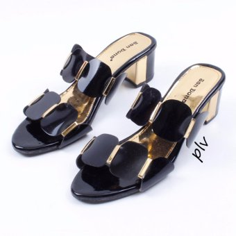 San Dona Double Strap Block Mid Heel Sandals Revi14 - Hitam