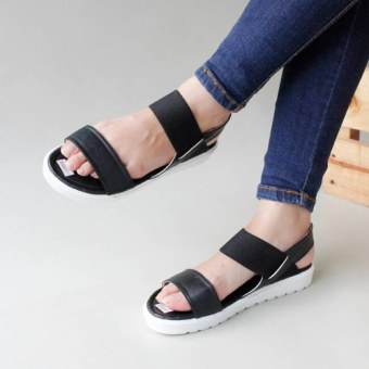 Own Works Open Toe Ankle Strap Block Mid Heel Sandals MA01 - Hitam . Source ·