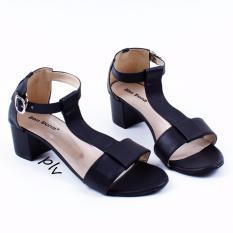 San Dona T-Strap Block Mid Heel Sandals SRevi - Hitam