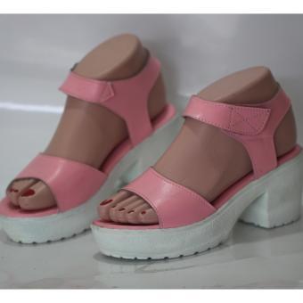 sandal heels wanita - satu ban pink