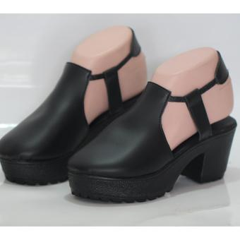 sandal heels wanita - tali karet - hitam