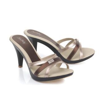 Sandal High Heels Wanita | Sendal Cewek Warna Krem - LJP 553