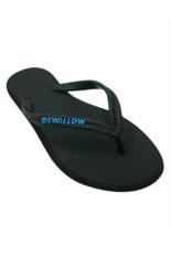 Sandal Swallow SlimFeet Wanita AllBlack - Logo Biru