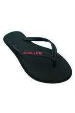 Sandal Swallow SlimFeet Wanita AllBlack - Logo Pink