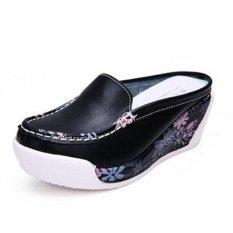 Sandal Wedges Wanita Motif Bunga ZYSK (Hitam) Z061903