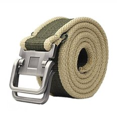 Santorini Pria Sabuk Men's Canvas Double Metal Buckle Belt