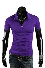 Sanwood Men's Summer Polo Slim Fit Short Sleeve T-Shirt Purple L