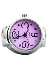 Sanwood Women's Purple Steel Elastic Quartz Finger Ring Watch