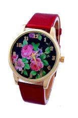 Sanwood Women's Rose Flower Faux Leather Watch Red
