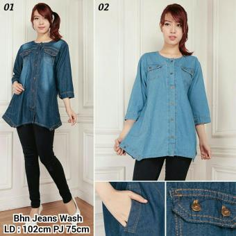 SB Collection Atasan Blouse Savita Kemeja Jeans-Biru Muda