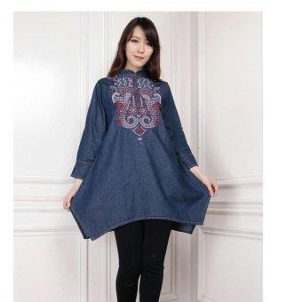 SB Collection Atasan Wanita Nadine Blouse Jeans Bordir Merah-Biru Tua