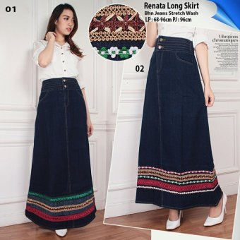 SB Collection Rok Panjang Renata Long Skirt-Biru Tua 02