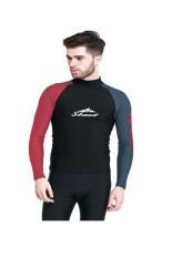 SBART Pria Pakaian Menyelam Tops Upf50 + Lengan Panjang Rashguard Renang Pakaian Olahraga Snorkeling Surfing Berselancar Angin Berselancar - (Hitam & Merah)