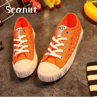 44f4669825 Seanut Fashion White Shoes New Lace-Up Canvas Casual Shoes Walking Shoes  (Orange)