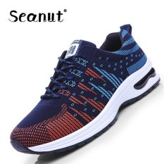 Seanut Flying Wire Cloth Breathable Mesh Shoes Sports Shoes Casual Men 's Shoes (Red, Blue) - Intl