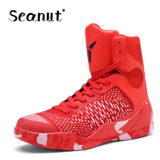 Seanut Men Basketball Shoes High Top Breathable Flat Sneakers (Red) - intl