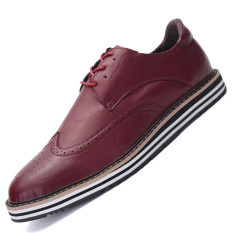 Seanut Men's Casual Leather Shoes Breathable Formal Shoes Flat Shoes (Red)