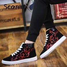 Seanut New Canvas Men's Shoes Summer High Sport Casual Shoes For Men Sneakers (Black / Red) - Intl