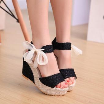 Seksi sepatu berenda mengintip kaki baji perempuan platform sandal hak tinggi pompa ikatan simpul - Internasional