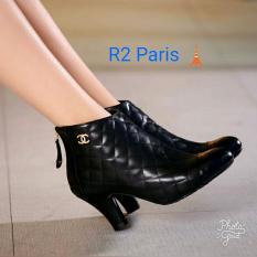 Sepatu Ankle Boots Wanita Channel Hak 4cm Hitam - Ilse R2