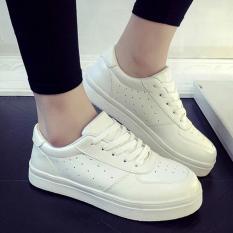 Sepatu Kets Wanita Putih Solid - Putih Sepatu Bolong Samping [WHITE]